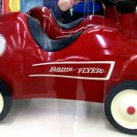 Number 8 Red Radio Flyer for sale at St. Vincent de Paul's Fond du Lac.
