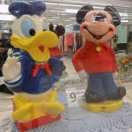 Vintage Donald Duck and Mickey Mouse banks.