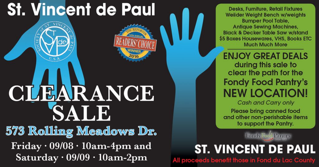St. Vincent de Paul September Clearance Sale 2017.