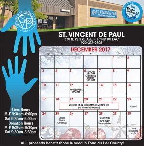 December 2017 Vinny Card Calendar.