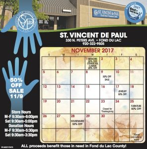 November 2017 Vinny Card Calendar.