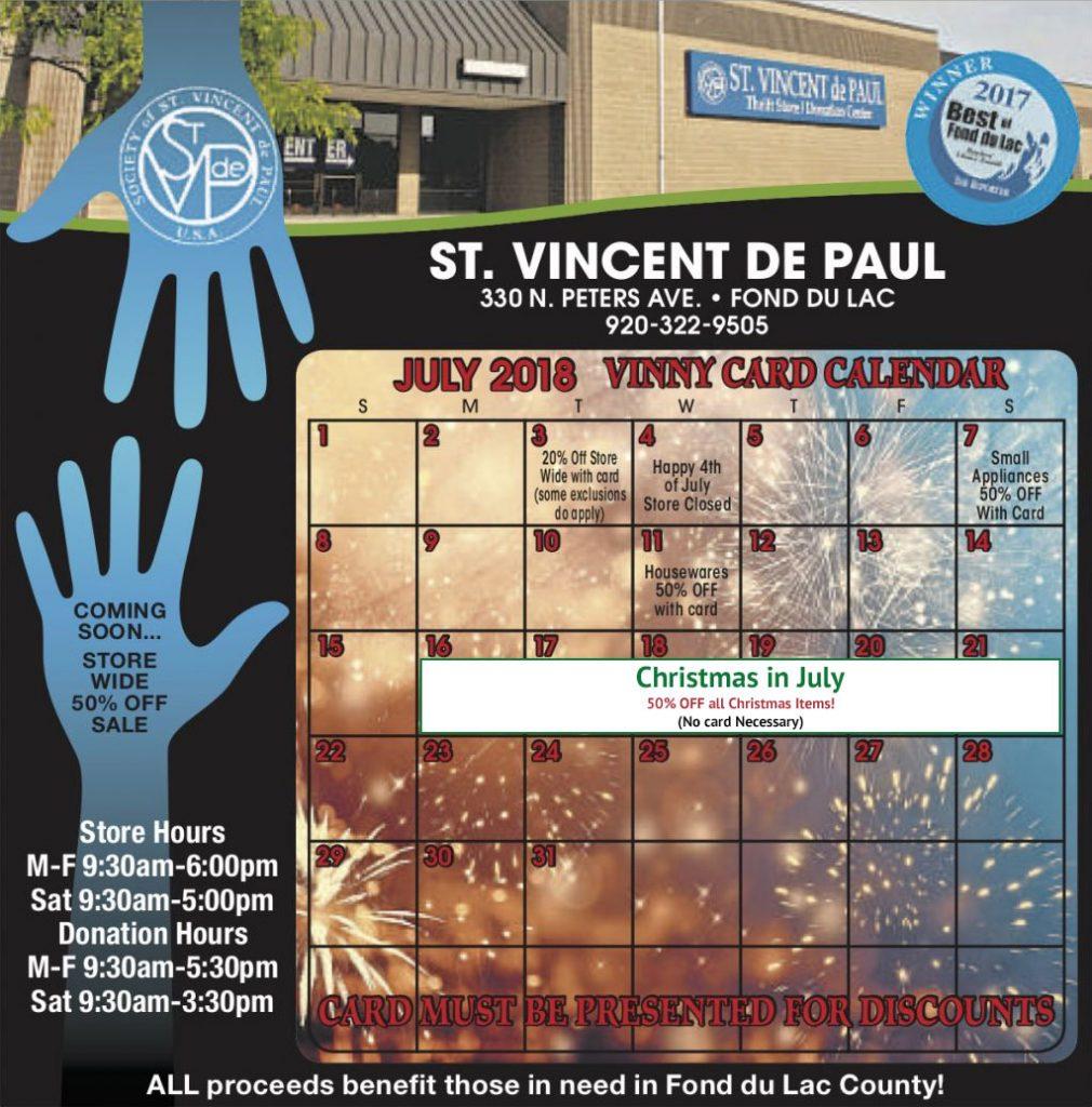 Vinny Card Calendar: July 2018.