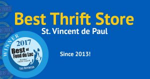 Vote best thrift store: St. Vincent de Paul. Best since 2013!