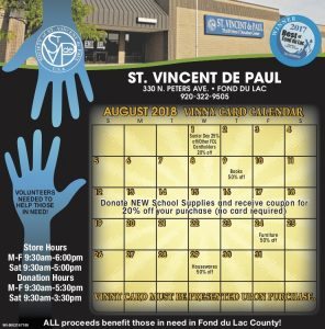 August 2018 Vinny Card Calendar.
