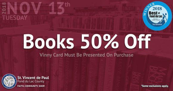 11/13/18: Books 50% Off Sale.