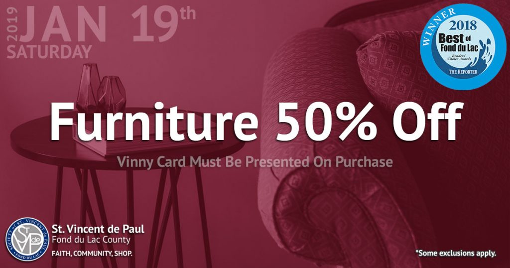 1/19/19: Furniture 50% Off.