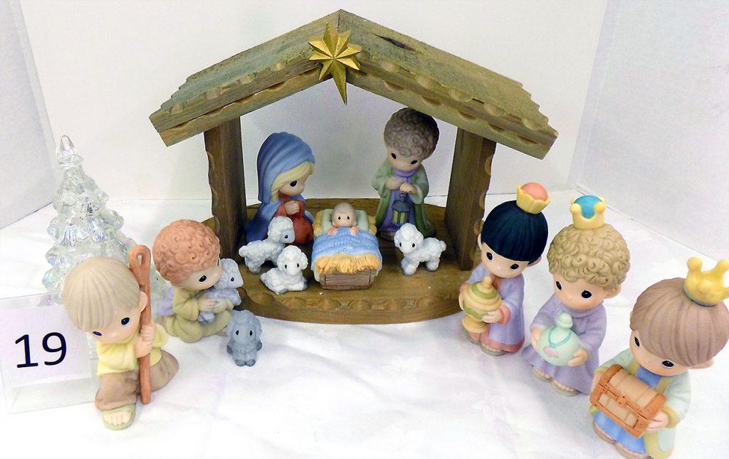 Precious Moments nativity with crib.