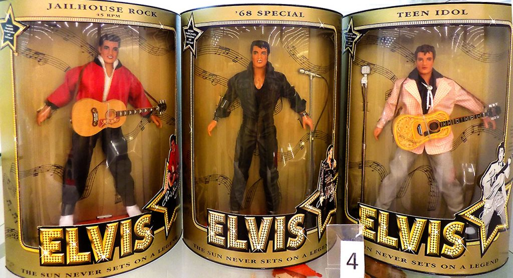 Three boxed Elvis collector dolls including Jailhouse Rock, '68 Special, and Teen Idol.