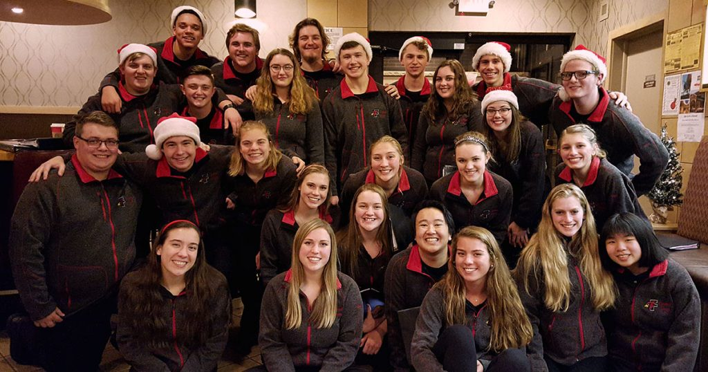 The Cardinal Singers at the KC Hall for the St. Vincent de Paul Christmas Party on 12/4/18.