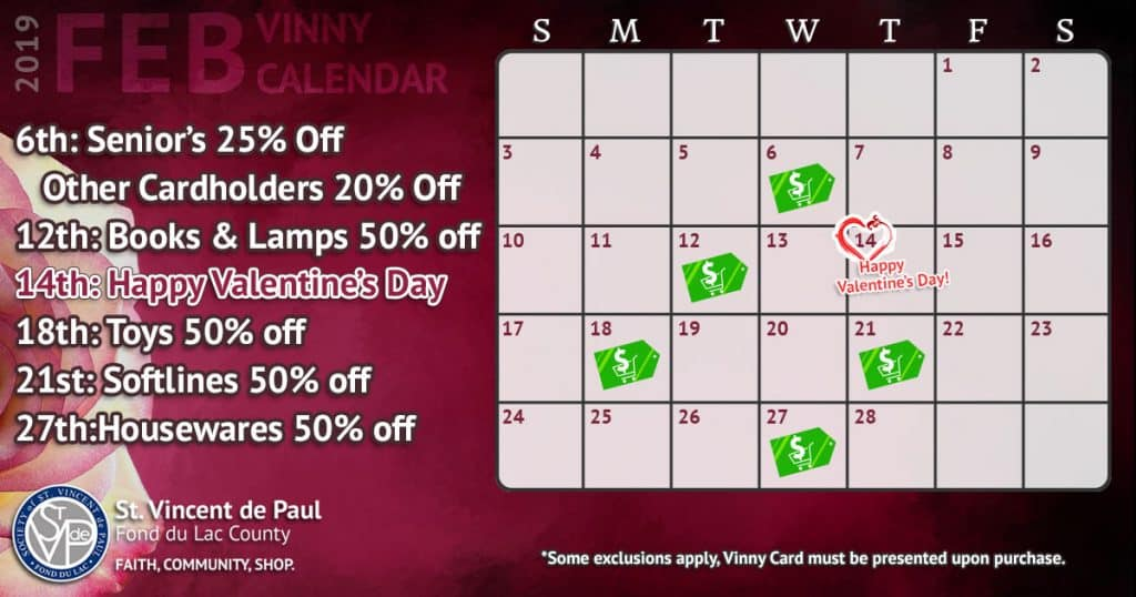 Feb Calendar 2019.February 2019 Vinny Card Calendar St Vincent De Paul