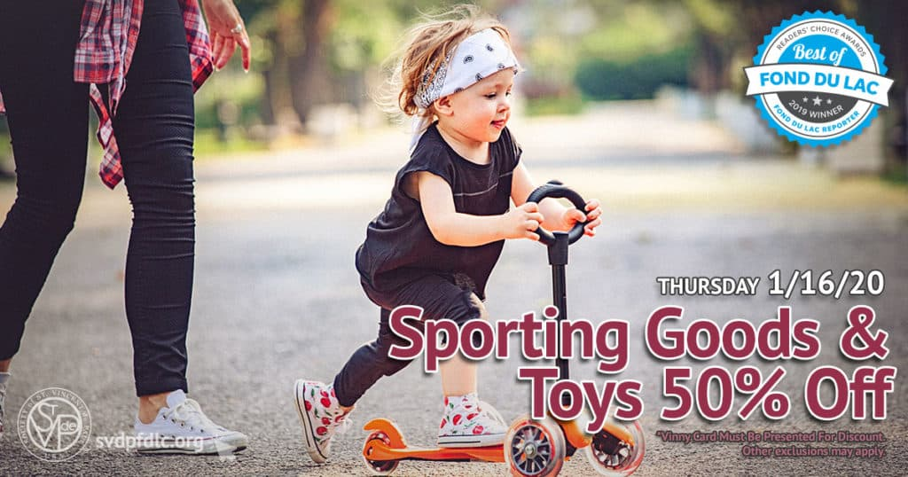 1/16/20: Sporting Goods & Toys 50% Off Sale.