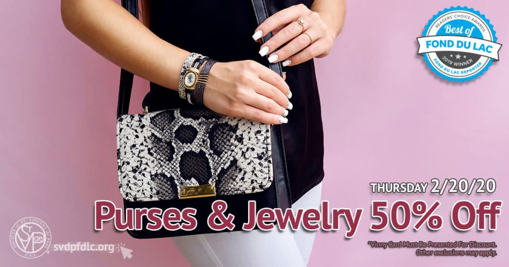2/20/20: Purses and Jewelry 50% Off Sale.