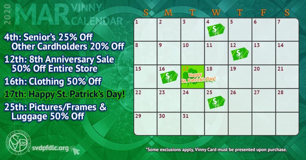 March 2020 Vinny Card Calendar.