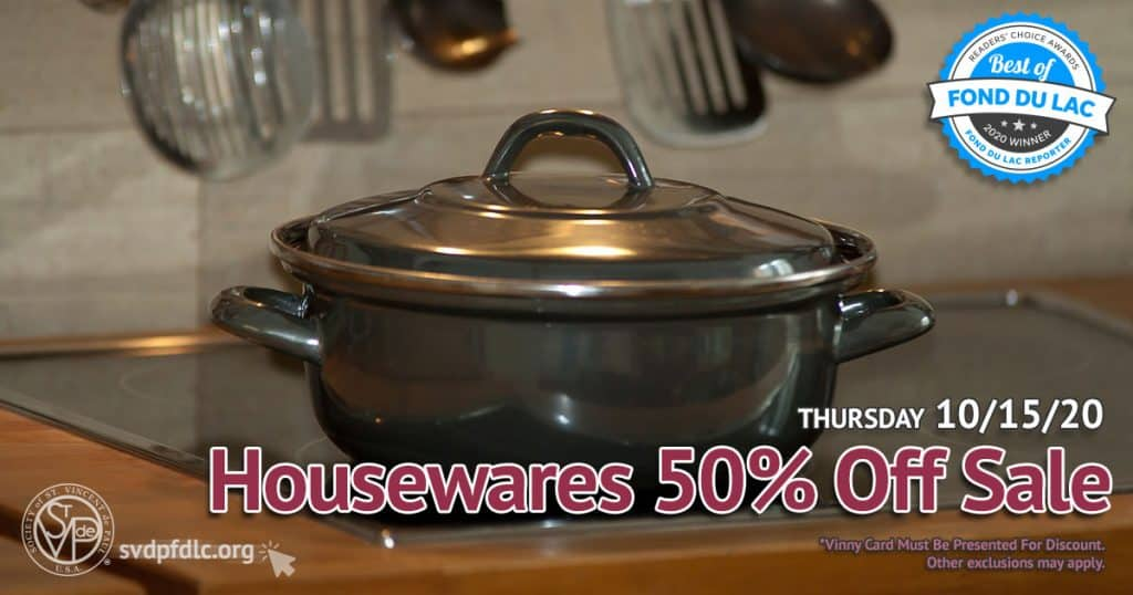 10/15/20: Housewares 50% Off Sale.