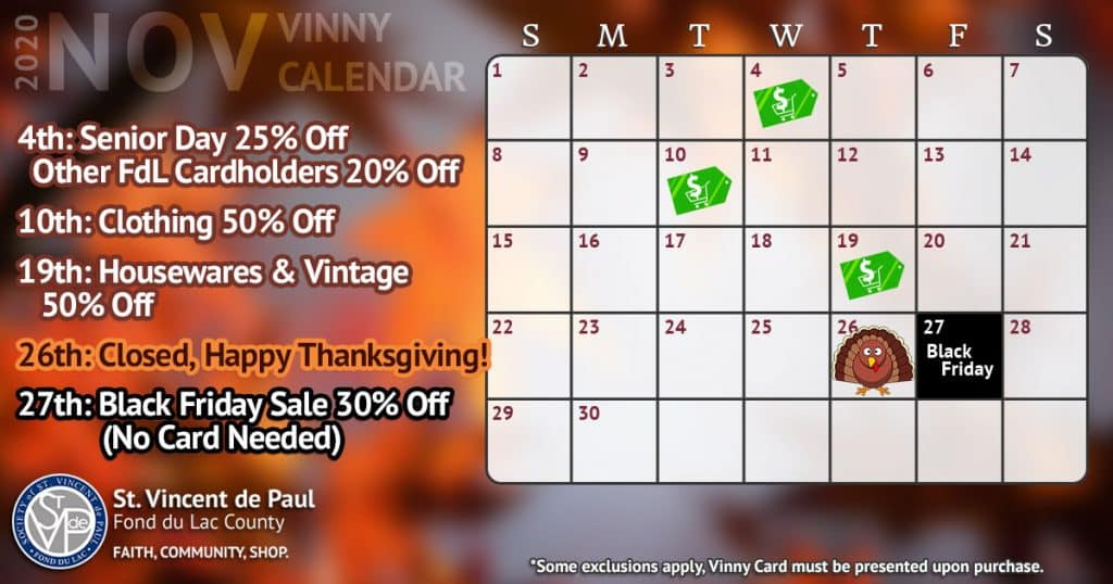 November 2020 Vinny Card Calendar.
