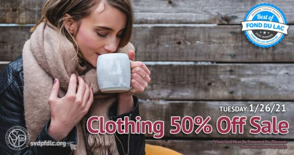 1/16/21: Clothing 50% Off Sale.