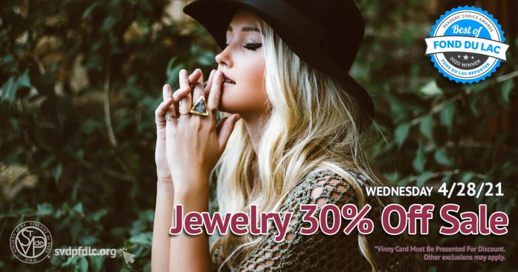 Jewelry 30 percent off sale. (4/28/2021)