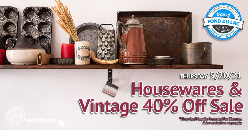 5/20/21: Housewares & Vintage 40% Off Sale.