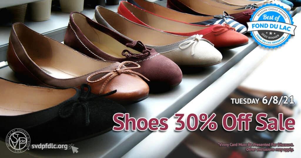 Shoes 30 percent off sale. (6/8/2021)